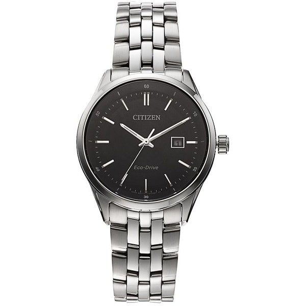 Citizen Eco-Drive Men's Stainless Steel Watch ($236) ❤ liked on Polyvore featuring men's fashion, men's jewelry, men's watches, jewelry, watches, accessories, men, grey, men's blue dial watches and mens water resistant watches