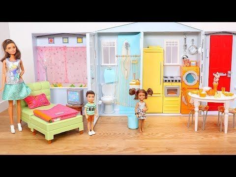 Barbie House Tour! Setup & Unboxing Barbie Totally Real Dollhouse Playset - YouTube
