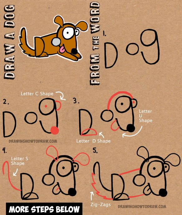 how to draw cartoon dogs with word DOG easy step by step drawing tutorial