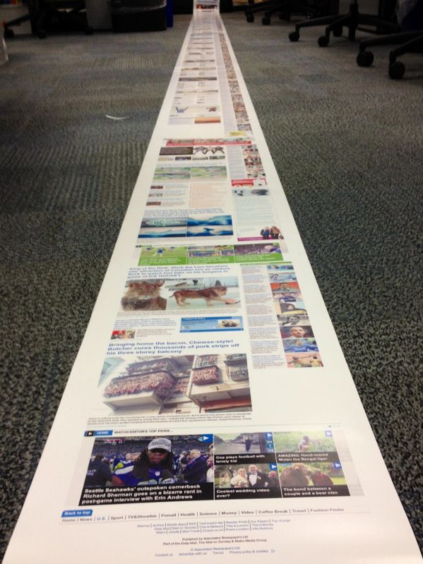 The Daily Mail homepage is over 8 metres long when printed out.