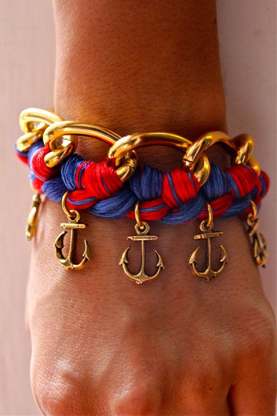 Nautical Woven Chain Bracelet with Anchor Charms. (restocking on July 3rd). $20.00, via Etsy.