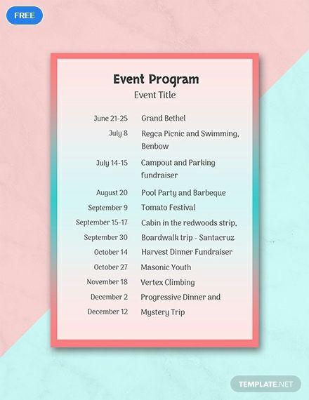 Free Event Program Program template ideas Program template