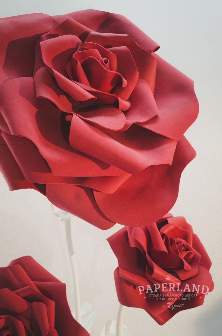Бумажные большие розы