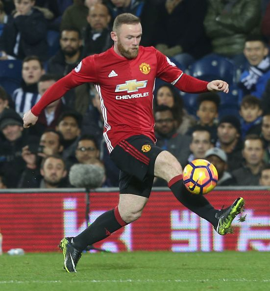 Wayne Rooney of Manchester United in action during the Premier League match between West Bromwich Albion and Manchester United at The Hawthorns on...