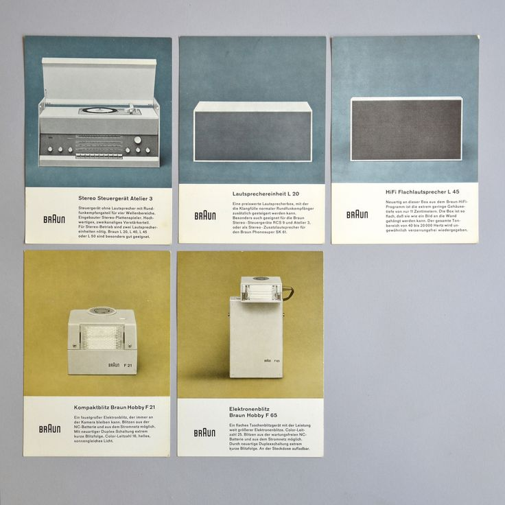 Muted ochre and cool greys. Brochures for Braun.