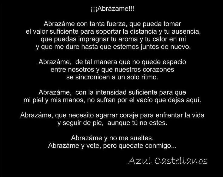 Abrázame y no me digas nada solo abrázame no quiero que te vayas pero se muy bien que tu te iras.... Abrázame como si fuera ahora la primera vez como si me quisieras hoy igual que ayer Abrázame...88' <3  #Abrazame #Alejandro #Fernandez  #azul #castellanos
