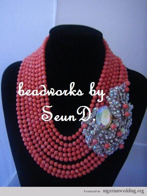 Nigerian wedding coral bead jewelry 10