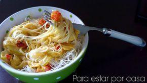 Para estar por casa: Fideos de arroz con verduras y salsa de coco y curry #fideos #arroz #verduras #leche #coco #curry #sin #huevo #lactosa #gluten #sinlactosa #sinhuevo #singluten