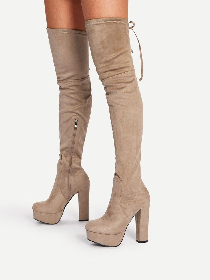 Tie Back Thigh High Heeled Boots