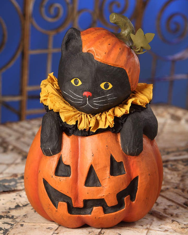 Bethany Lowe Cat in Jack-O-Lantern Halloween Decor #jack#lantern