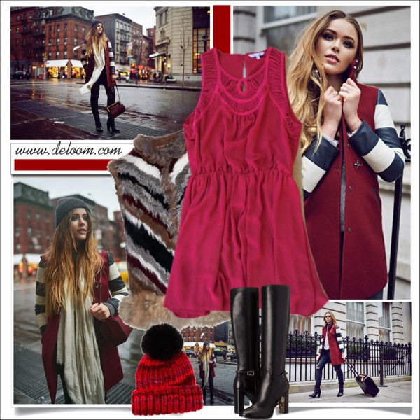 Autumn Raspberry Party Dress ( Contest with prizes sponsored by www.deloom.com ) by ewa-naukowicz-wojcik on Polyvore featuring Elizabeth and James, Burberry, Eugenia Kim and lovedeloom #lovedeloom