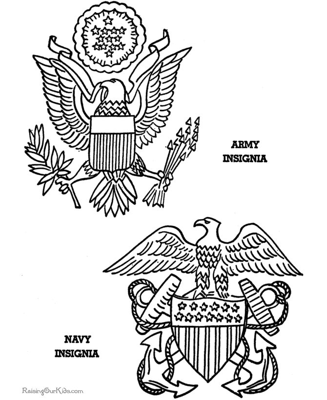 Army and Navy printables to color