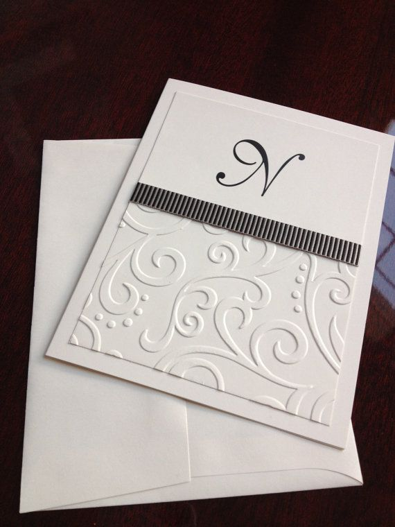 Personalized Note Card with Initial Custom by LimeGreenRhinestones, $12.50
