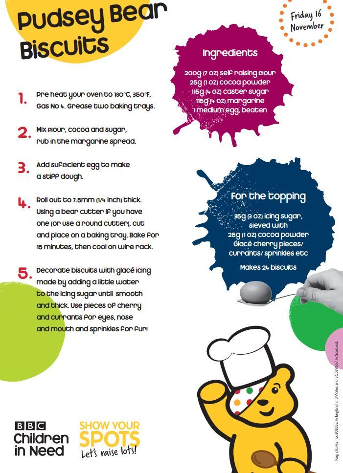 It's time to get your cooking caps on with these recipes to help you create your very own Children in Need cake stall.