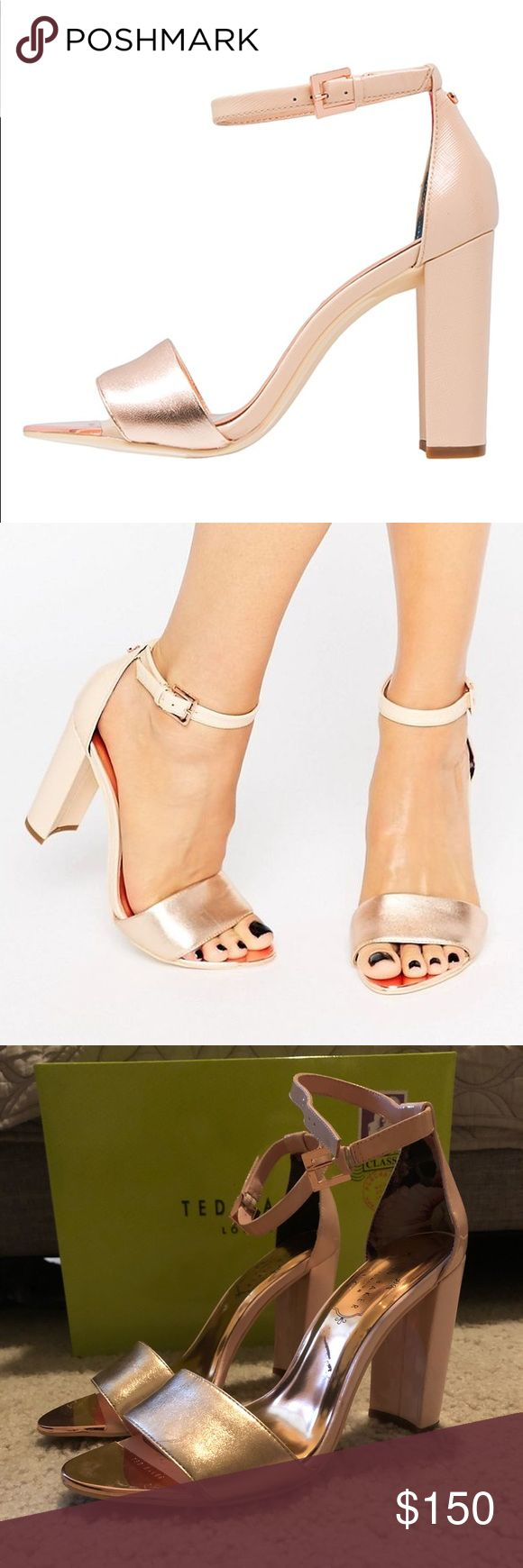Ted Baker pink and rose gold chunky heels Pale pink and rose gold chunky heels. Size 6. Worn once, in excellent condition! Ted Baker London Shoes Heels