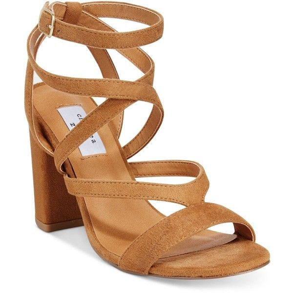 Chelsea & Zoe Maris High-Heel Dress Sandals ($89) ❤ liked on Polyvore featuring shoes, sandals, camel, chunky-heel sandals, strappy shoes, strap shoes, strappy dress sandals and block heel sandals