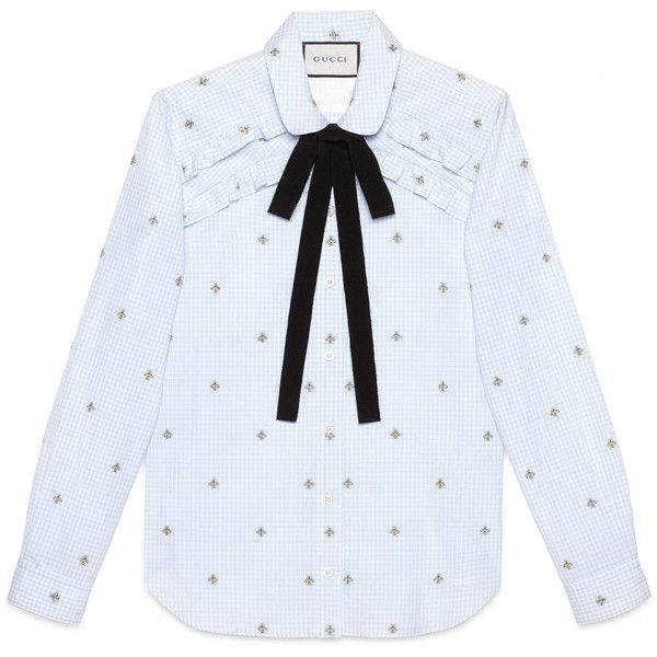 Gucci Bee Fil Coupé Shirt ($690) ❤ liked on Polyvore featuring tops, clothing - ls tops, shirts, blusa, ready to wear, tops & shirts, women, embroidered shirts, flutter-sleeve top and flounce tops
