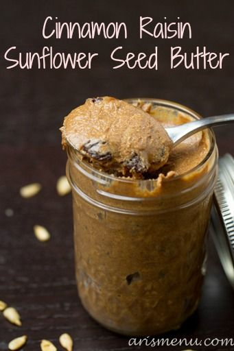 Cinnamon Raisin Sunflower Seed Butter. There is nothing like homemade nut butters - yum! #sunflower #seed #nutbutter #cinnamon