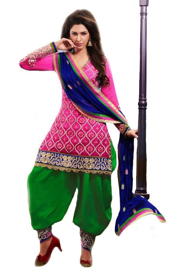 Shop Now - http://valehri.com/salwar-kameez/926-pink-shaded-flowing-georgette-kameez-and-chiffon-dupatta-patiala-style.html