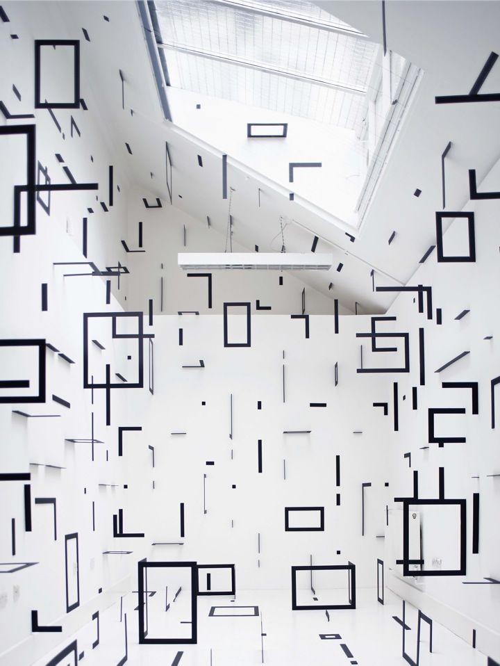 esther stocker - art installation - *stellar installation!Spaces, Inspiration, Art Exhibitions, Esther Stocker, Art Installations, Exhibitions Ideas, Design, White Wall, Black Squares