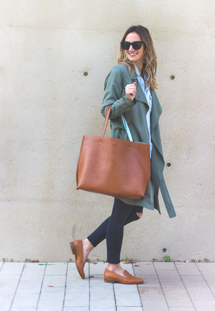 Green Trench Coat (on sale!) & Tan Loafers / LivvyLand