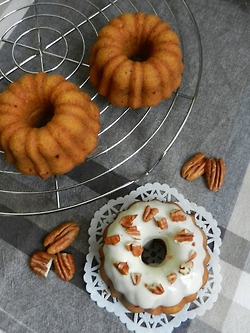 Mini carrot bundt cakes with cream cheese frosting