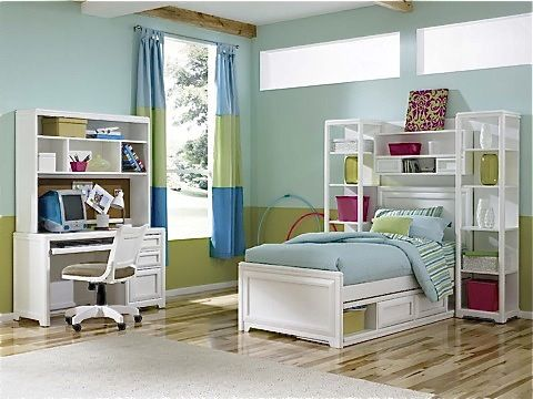 contemporary girls storage bed with bookcase towers & bridge, matching desk, hutch & chair- Country Willow Furniture