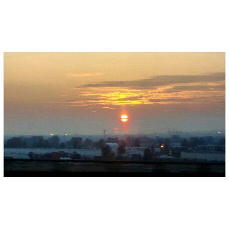 Bridge view of the sun setting