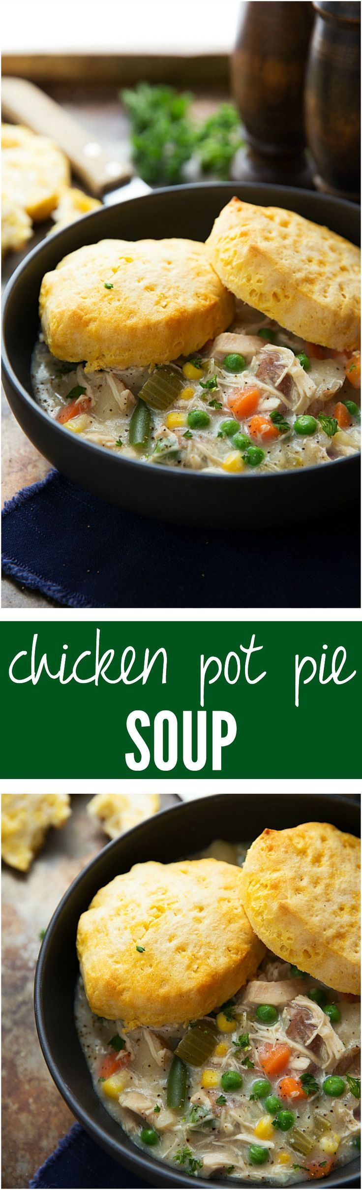 Chicken Pot Pie Soup - So easy to make and rich and creamy and delicious! Comfort food at its finest!