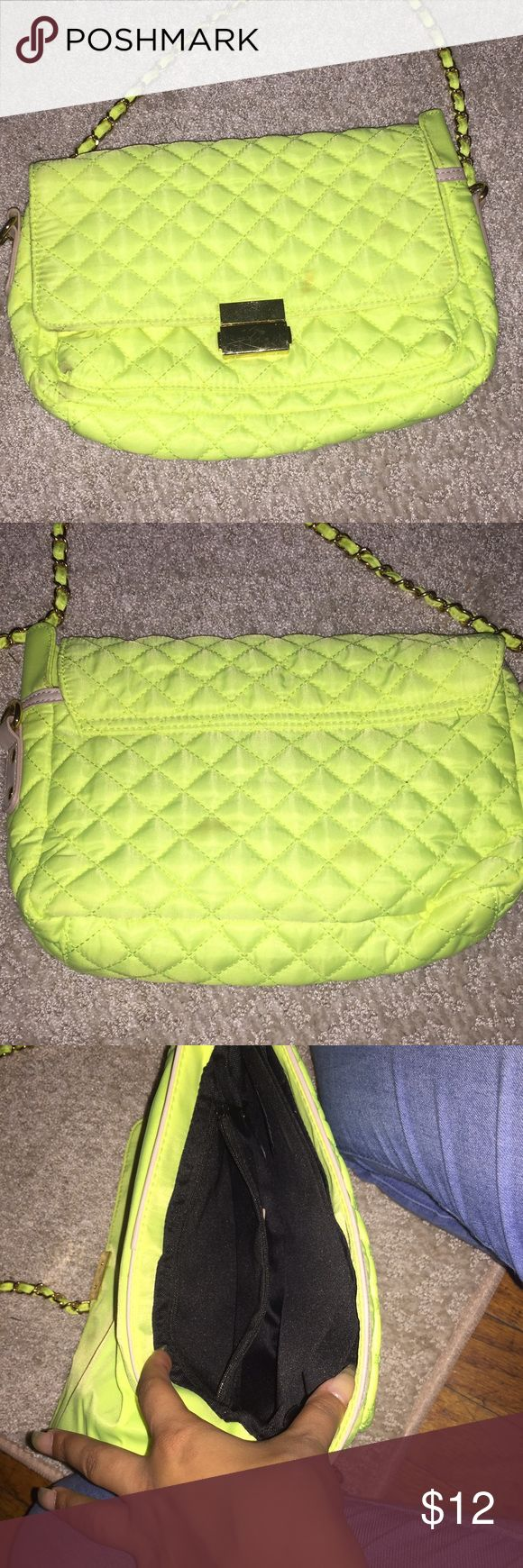 Lime green clutch bag with straps Has small stain in front & bag. Great color for summer Forever 21 Bags Crossbody Bags
