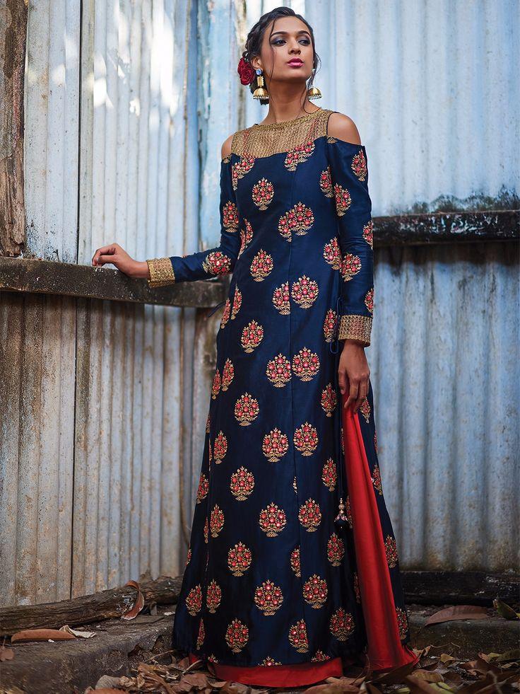 Navy Silk Designer Suitsa