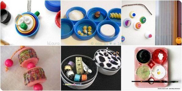 cf la boite avec 2 couvercles de Nutella - ECO CRAFT TOUR aprile 2013 idee per riciclare tappi e coperchi