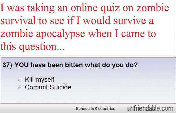 Zombie Survival Quiz Failure