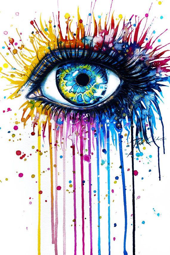 Arco iris ojo firma Art Print