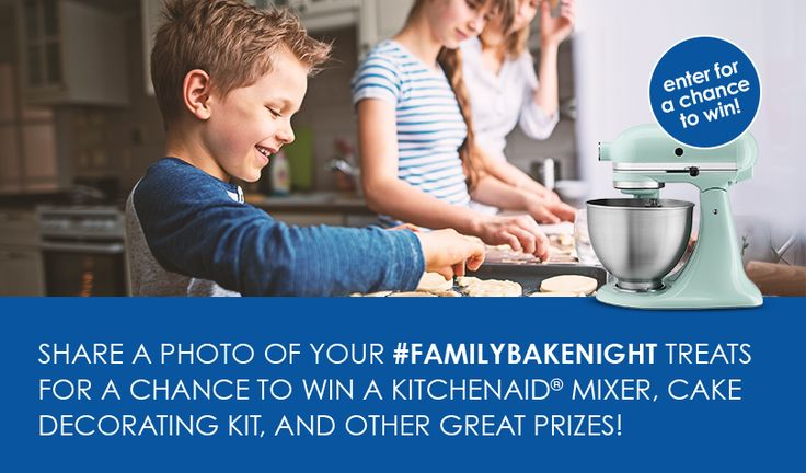 Create sweet new memories with our 8-week #FamilyBakeNight Challenge. One lucky Grand Prize Winner will receive a Deluxe Baking Prize Pack, which includes a KitchenAid® Artisan® Series Stand Mixer, ba