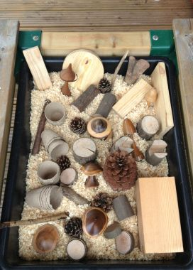 Natural sensory tub. An activity at Carers Nest Pre-school open day