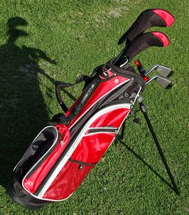 Aspire JX9 5 Club Junior Golf Set for Ages 6-8 - Red and Black, $132.00