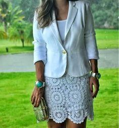 Pretta Crochet: Saia de Crochet Le Lis Blanc
