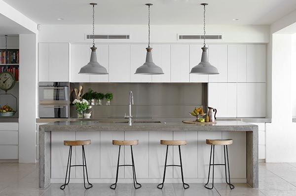 stylish kitchens with concrete countertops. love the stools too