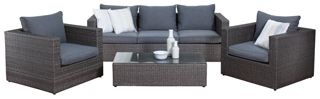 Outdoor Sofa Sets - The Pacific 3 Seater Sofa Set is an entertainer's delight with its generous size while also adding style to your home with its mottled wicker and grey fleck tones.