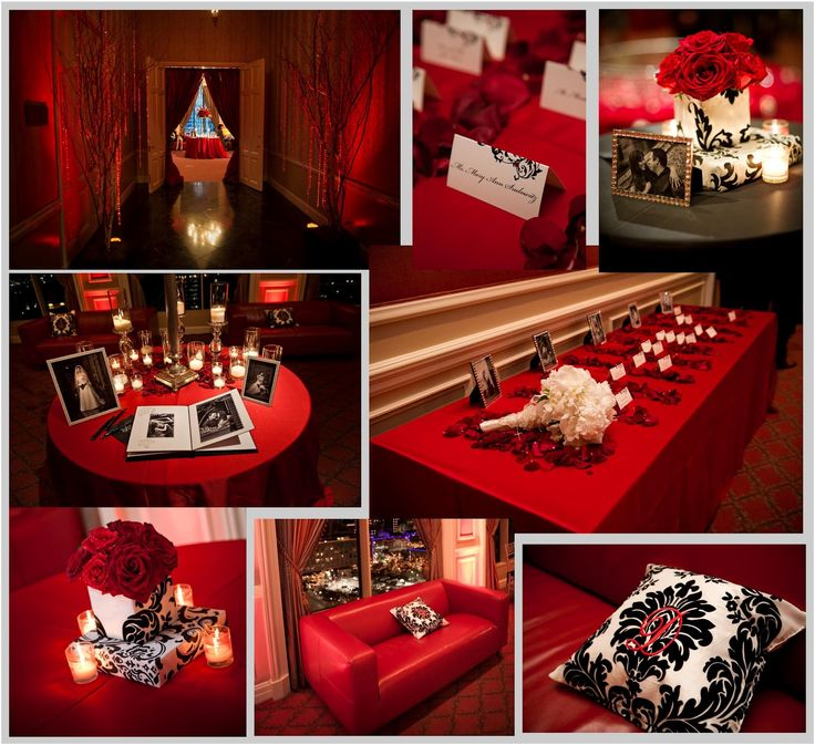 red wedding decorations and black decor accents for cocktail reception 7031