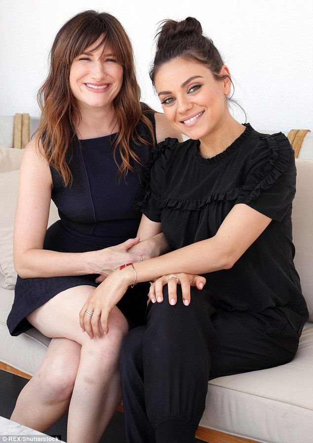 Co-stars: Mila Kunis showed off her maternity chic on Friday as she attended a press junket for Bad Moms alongside Kathryn Hahn