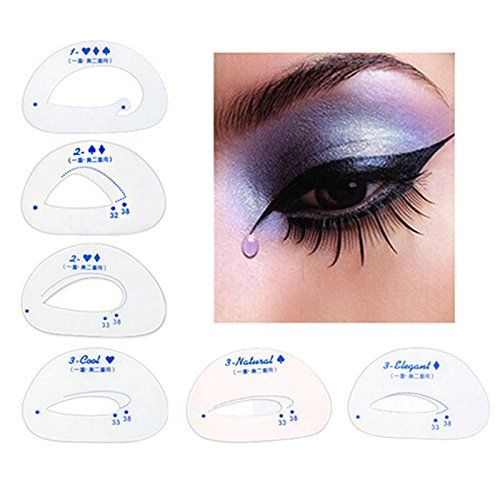 From 1.09:Janedream 6pcs Cat Eye Stencils Eye Liner Eyeliner Card Makeup Tools Eye Shadow Stencils Tool Eyeshadow Cateye