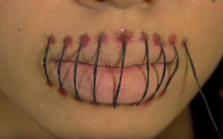 Ben je op zoek naar een simpele make-uplook voor Halloween? Dat is dit misschien wel iets voor jou. Praten gaat niet zo makkelijk, maar je moet er natuurlijk iets voor over hebben om er zo creepy uit te zien.