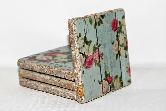 This set of 4 Stone coasters is beautifully colorful. They are handcrafted and brightly colored with a fantastic floral pattern, made to be a substantial presence on your living area surfaces. Set of 4 Coasters - Stone Coaster Set - blue coasters - floral - Stone coaster set with