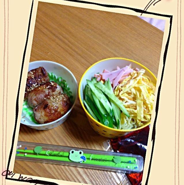 息子のリクエスト✨麺にごま油少しからめました - 51件のもぐもぐ - 冷やし中華、肉巻きお結び弁当 by KyonKyon1110