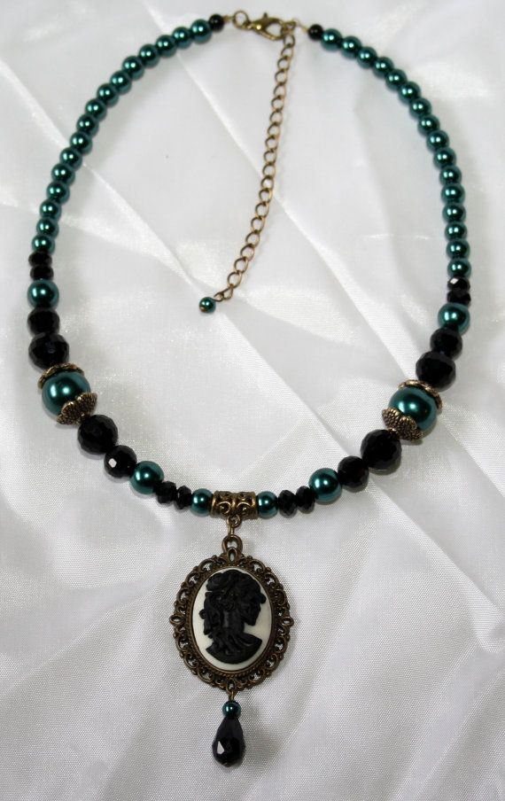 Skeleton Lady Cameo Necklace with Teal Faux Pearls and Black Crystals