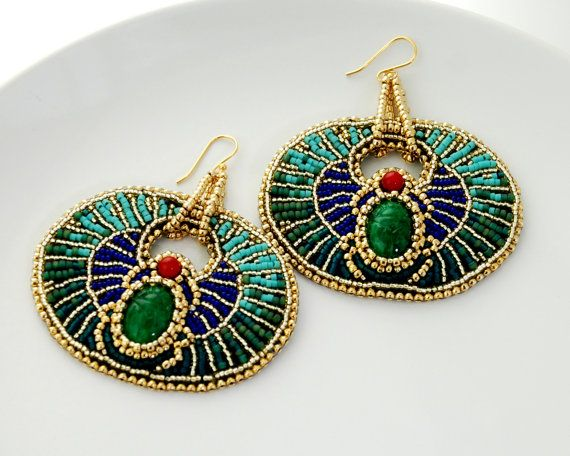 Egyptian Goddess - Geometric Bead Embroidered Statement Earrings, Egyptian Scarab Jewelry, Gold Plate, Coral, and Glass.