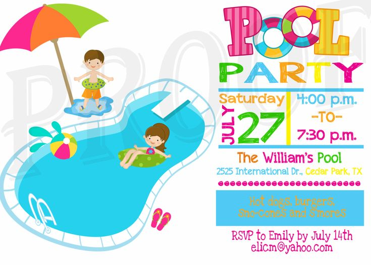 Pool Party Invitation Pool Party Decoration Kids Pool Party Printable Pool Party invitation Pool Party Invite Pool Party Birthday invitation - pinned by pin4etsy.com
