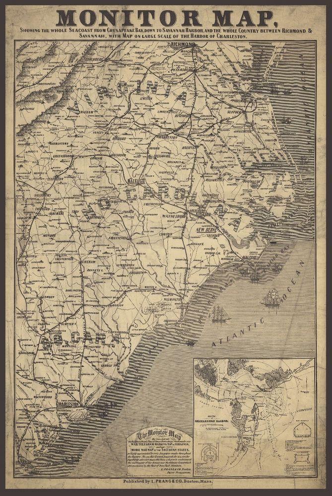 1863 Civil War Map Chesapeake Bay Savannah